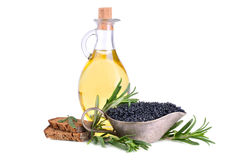 Olive oil and caviar Royalty Free Stock Photos