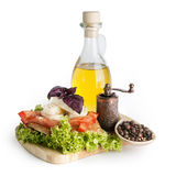 Olive oil, cheese and tomato Royalty Free Stock Photography