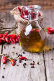 Olive oil with chili peppers Royalty Free Stock Image