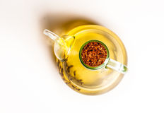Olive oil decanter shoot from above Stock Photos