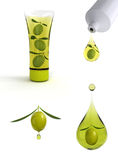 Olive oil drop. 3d illustration of drop of olive oil and olive cosmetics Stock Photos