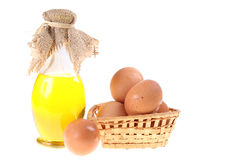 Olive oil and eggs Stock Photography