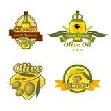 Olive oil emblem set for bottle label design Royalty Free Stock Images