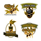Olive oil extra virgin products design. Olive oil extra virgin icons and symbols. Black olive fruit on branch with drop of oil isolated symbol with bottle and stock illustration