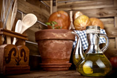 Olive oil flavored with garlic Royalty Free Stock Photo