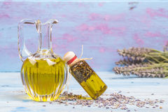 Olive oil flavored with lavender Royalty Free Stock Images