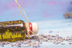 Olive oil flavored with lavender seeds Royalty Free Stock Photo