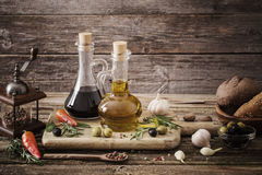 Olive oil flavored with spices Stock Images
