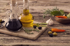Olive oil flavored with spices Stock Image