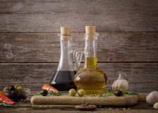 Olive oil flavored with spices Royalty Free Stock Images
