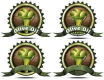 Olive Oil - Four Labels with Ribbon Royalty Free Stock Photos