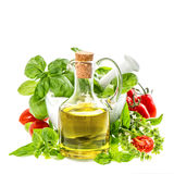 Olive oil, fresh basil leaves and tomatoes. italian food ingredi Royalty Free Stock Image