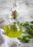 Olive oil, fresh Basil Royalty Free Stock Photography