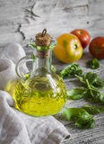 Olive oil, fresh Basil and tomatoes Royalty Free Stock Images
