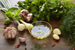 Olive oil, fresh herbs and spices Royalty Free Stock Photo