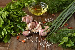 Olive oil, fresh herbs and spices Stock Photography