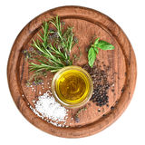 Olive oil with fresh herbs thyme, basil and rosemary Stock Images