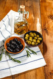 Olive oil with fresh olives stock photography