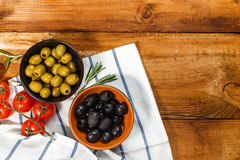 Olive oil with fresh olives royalty free stock photos
