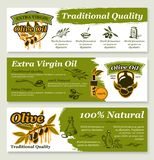 Olive oil and fruit healthy food banner template. Olive oil and marinated olive fruit banner template set. Pitted greek olive can and natural organic oil bottle stock illustration