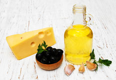 Olive oil, garlic and cheese Royalty Free Stock Photo