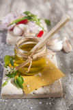 Olive oil, garlic and chili Stock Photography