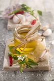 Olive oil, garlic and chili Royalty Free Stock Photo