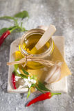 Olive oil, garlic and chili Royalty Free Stock Image