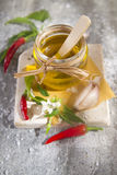 Olive oil, garlic and chili Royalty Free Stock Photography