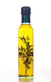 Olive oil in glass bottle Royalty Free Stock Photo