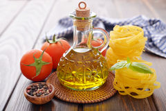 Olive oil in glass bottle Stock Photography