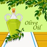 Olive oil, glass bottle of vegetable oil on the background of olive branches vector Illustration design element for Royalty Free Stock Image