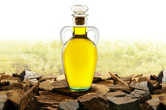 Olive Oil Glass Bottle With Olive Oil Stock Images
