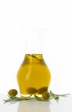 Olive oil in glass carafe Royalty Free Stock Photos