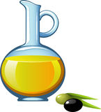 Olive oil in a glass jar Royalty Free Stock Images