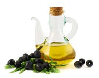 Olive oil glass vessel isolated Stock Image