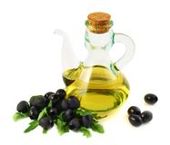 Olive oil glass vessel isolated Royalty Free Stock Image