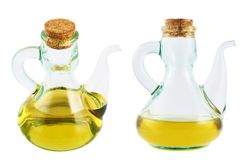 Olive oil glass vessel isolated Stock Photo