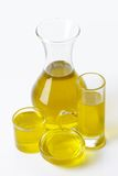 Olive oil in glass vessels Stock Photography