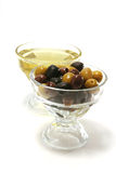 Olive oil with green and black olives Stock Photo