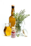 Olive oil and herbs Stock Image