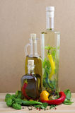 Olive oil and herbs Stock Photography