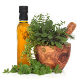 Olive Oil and Herbs. Olive oil bottle with fresh herb leaves in a wooden mortar with pestle over white background Royalty Free Stock Image