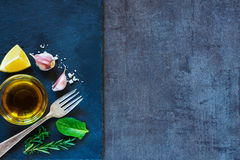 Olive oil, herbs and spices Stock Image