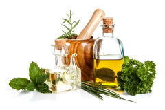 Olive oil and herbs Royalty Free Stock Photography