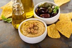 Olive oil homemade hummus Stock Photos