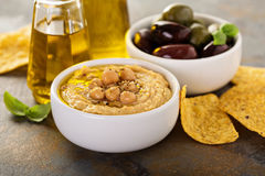 Olive oil homemade hummus Royalty Free Stock Photography