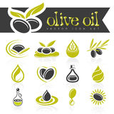 Olive oil icon set Royalty Free Stock Images