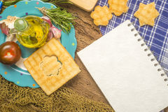 Olive oil and ingredients with blank space Stock Image