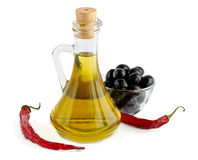 Olive oil isolated on white. Olive oil,pepper,black olives  isolated on white background Royalty Free Stock Photo